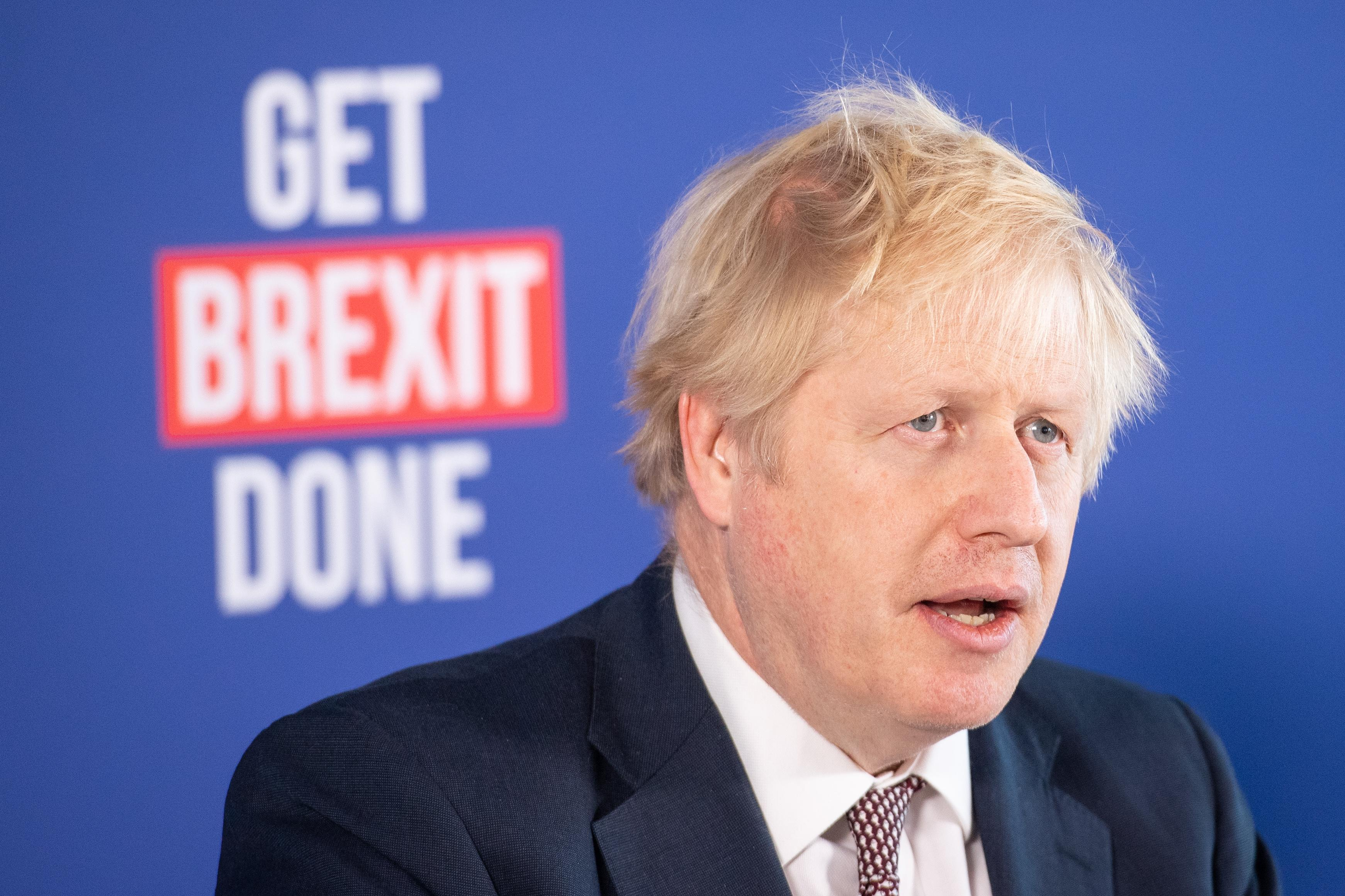 Prime Minister Boris Johnson speaking at a press conference in Millbank Tower, London, while on the General Election campaign trail.