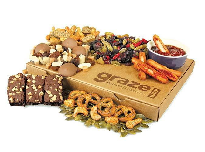 """<h2>24. Graze</h2> <p><strong>Cost:</strong> $15/biweekly (first box is 50 percent off)</p> <p><strong>What you get: </strong>Eight snack varieties</p> <p><strong>Why we love it:</strong> If you want to pepper in a few healthier options, this is the easiest way to snack responsibly (and guilt-free). Each box contains a mix of health-conscious items—think cinnamon pretzels, crunchy beet chips, and inventive trail mixes—and after each delivery, you review each snack so the <a href=""""https://www.graze.com/us"""" rel=""""nofollow noopener"""" target=""""_blank"""" data-ylk=""""slk:Graze"""" class=""""link rapid-noclick-resp"""">Graze</a> team knows what will fulfill your sweet (or savory) tooth next time.</p> <p><a class=""""link rapid-noclick-resp"""" href=""""https://www.graze.com/us"""" rel=""""nofollow noopener"""" target=""""_blank"""" data-ylk=""""slk:Sign up for Graze"""">Sign up for <em>Graze</em> </a></p>"""