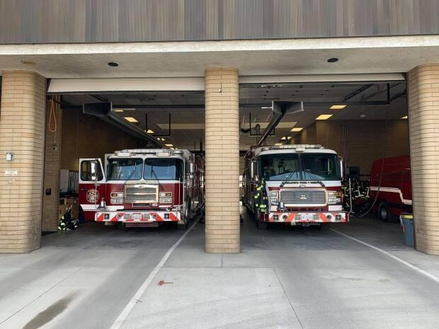 Fire trucks at a Kamloops Fire Rescue station.  (Kamloops Fire Rescue/Facebook - image credit)