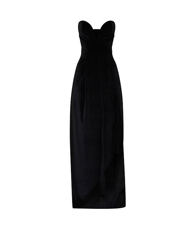 "<p>Black Velvet Draped Wrap Detail Bandeau Maxi Dress, $42,<a href=""https://www.prettylittlething.us/black-velvet-draped-wrap-detail-bandeau-maxi-dress.html"" rel=""nofollow noopener"" target=""_blank"" data-ylk=""slk:prettylittlething.com"" class=""link rapid-noclick-resp""> prettylittlething.com</a> </p>"