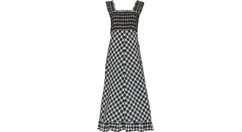 Ganni seersucker check smocked midi dress