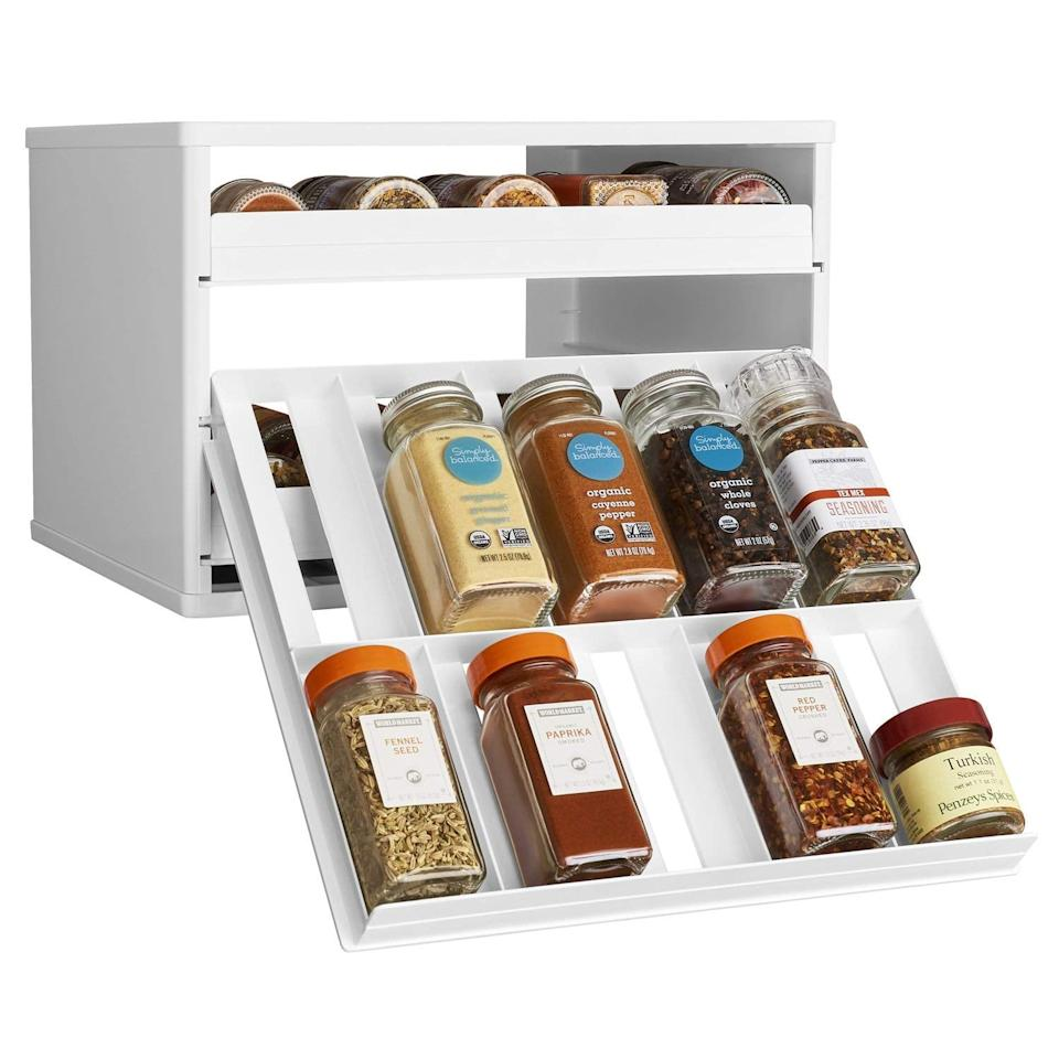 "<p>This <a href=""https://www.popsugar.com/buy/YouCopia-Chef-Edition-SpiceStack-30-Bottle-Spice-Organizer-Universal-Drawers-488304?p_name=YouCopia%20Chef%27s%20Edition%20SpiceStack%2030-Bottle%20Spice%20Organizer%20with%20Universal%20Drawers&retailer=amazon.com&pid=488304&price=41&evar1=casa%3Aus&evar9=46583359&evar98=https%3A%2F%2Fwww.popsugar.com%2Fphoto-gallery%2F46583359%2Fimage%2F46585396%2FYouCopia-Chef-Edition-SpiceStack-30-Bottle-Spice-Organizer-with-Universal-Drawers&list1=shopping%2Corganization%2Chome%20organization%2Chome%20shopping&prop13=api&pdata=1"" rel=""nofollow"" data-shoppable-link=""1"" target=""_blank"" class=""ga-track"" data-ga-category=""Related"" data-ga-label=""https://www.amazon.com/YouCopia-SpiceStack-30-Bottle-Organizer-Universal/dp/B01ALT7JQW?ref_=ast_sto_dp&amp;th=1"" data-ga-action=""In-Line Links"">YouCopia Chef's Edition SpiceStack 30-Bottle Spice Organizer with Universal Drawers</a> ($41) is so genius.</p>"