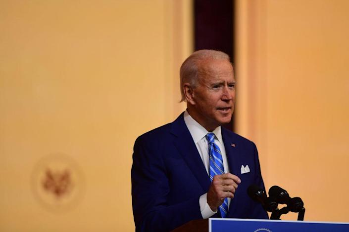 President-elect Joe Biden delivers a Thanksgiving address at the Queen Theatre on November 25, 2020 in Wilmington, Delaware. As Biden waits to be approved for official national security briefings, the names of top members of his national security team were announced yesterday to the public. Calls continue for President Trump to concede the election and let the transition proceed without further delay. (Photo by Mark Makela/Getty Images)