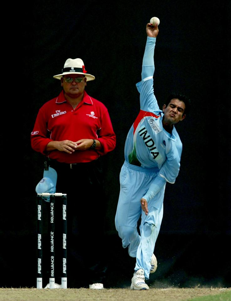 KUALA LUMPUR, MALAYSIA - FEBRUARY 24: Sidharth Kaul of India bowls against England during the ICC U/19 Cricket World Cup quarter finals match between India and England held at the Kinrara Cricket Oval on February 24, 2008 in Kuala Lumpur, Malaysia. (Photo by Stanley Chou/Getty Images)