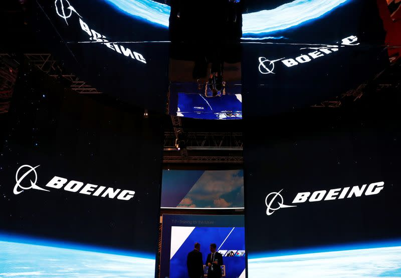 A view of the Boeing booth at the Singapore Airshow in Singapore