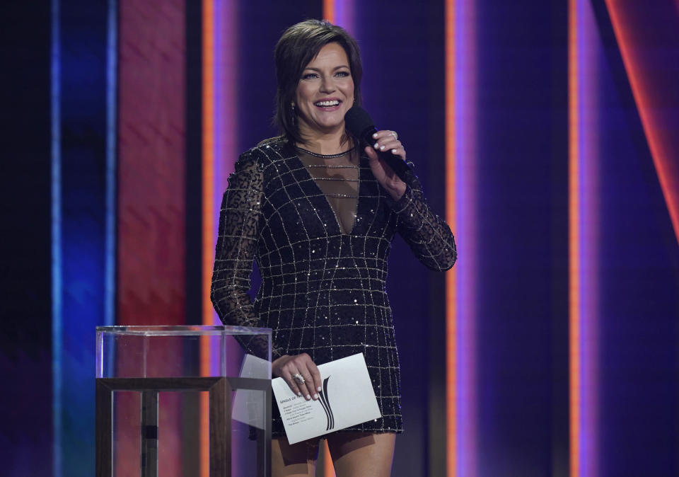 Martina McBride presents the award for single of the year at the 56th annual Academy of Country Music Awards on Sunday, April 18, 2021, at the Grand Ole Opry in Nashville, Tenn. (AP Photo/Mark Humphrey)