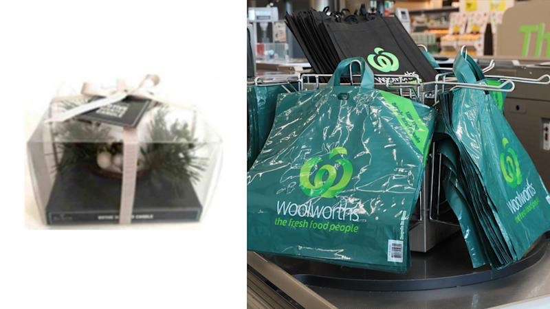 The candle that has been recalled (left) and an image of Woolworths bags (right).