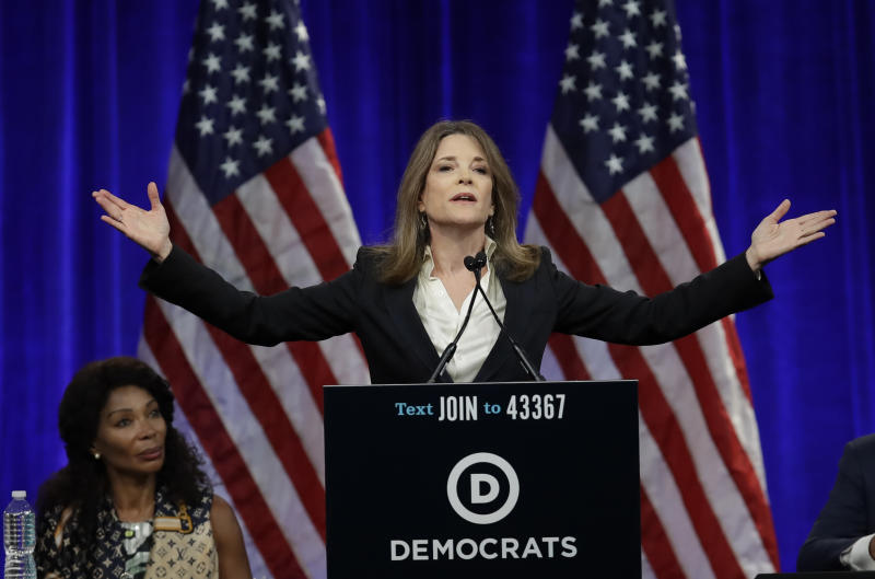 FILE - In this Aug. 23, 2019, file photo, Democratic presidential candidate author Marianne Williamson speaks at the Democratic National Committee's summer meeting in San Francisco. Although she was frozen out of the third Democratic presidential debate, Williamson isn't giving up yet. The best-selling author and spiritual adviser made a big impression in the second debate but still failed to garner enough support in the polls to qualify for the third debate.(AP Photo/Ben Margot, File)