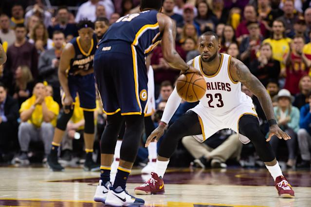 """<a class=""""link rapid-noclick-resp"""" href=""""/nba/players/4725/"""" data-ylk=""""slk:Paul George"""">Paul George</a> and LeBron James are going to see a lot of each other over the next couple of weeks. (Getty Images)"""