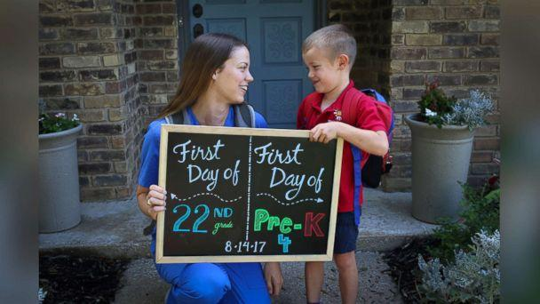 PHOTO: Both Katie Tucker and her son Edric Tucker, 4, of Dallas, Texas, commemorated their first days of school with an adorable photo announcement. (Scott Tucker )