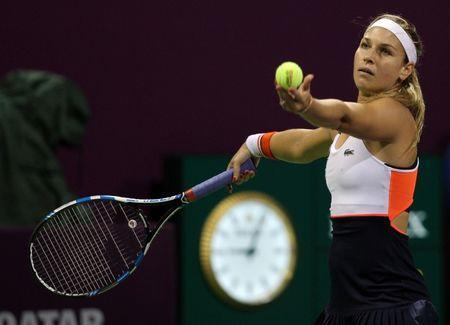 Tennis - Qatar Open - Women's Singles - Semi-Final - Dominika Cibulkova of Slovakia v Karolina Pliskova of the Czech Republic - Doha, Qatar - 17/2/2017 - Cibulkova in action. REUTERS/Naseem Zeitoon - RTSZ7IA