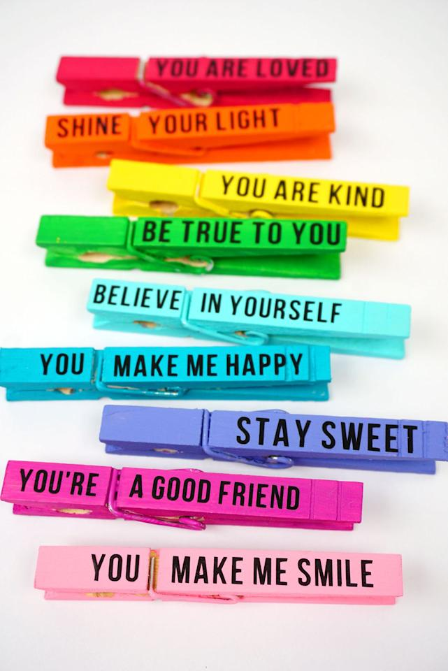"""<p>Grab some paint and a few clothespins to make this colorful craft, then have the kids secretly clip the uplifting messages on <a rel=""""nofollow"""" href=""""https://www.womansday.com/life/g3120/back-to-school-backpacks/"""">each other's backpacks</a> for a nice surprise!</p><p><strong>Get the tutorial at <a rel=""""nofollow"""" href=""""https://www.happinessishomemade.net/kindness-clips-random-acts-of-kindness-idea/"""">Happiness is Homemade.</a></strong></p><p><strong>What you'll need: </strong>Wooden clothespins ($6, <a rel=""""nofollow"""" href=""""https://www.amazon.com/Natural-Wooden-Clothespins-Sturdy-Shirts/dp/B077KXMX68/"""">amazon.com</a>)</p>"""