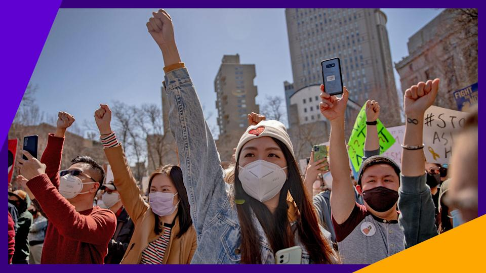 Public support of the Stop Asian Hate movement has grown over the last year. (Photo: Getty)