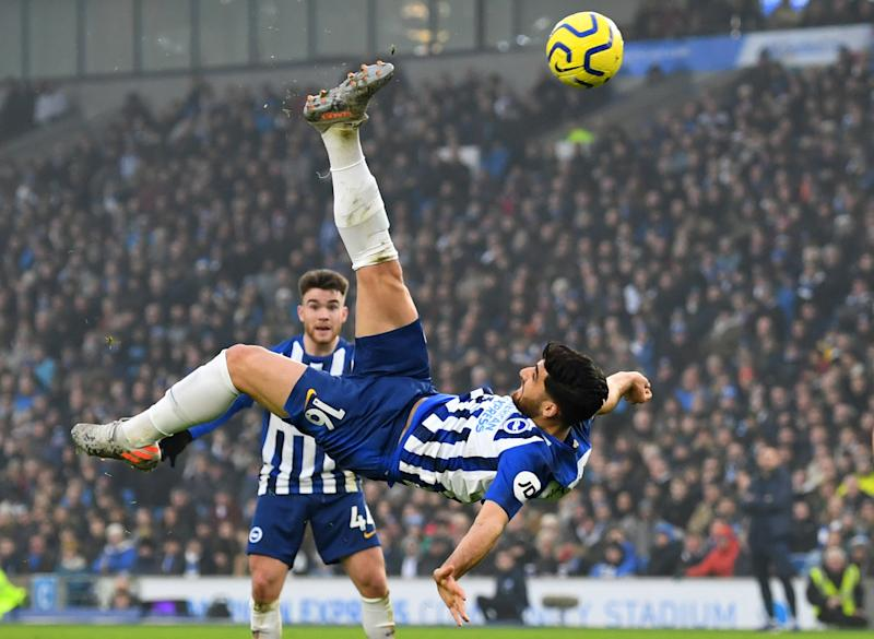 Bravo, Alireza Jahanbakhsh, whose bicycle kick equalizer earned a point for Brighton against Chelsea. (REUTERS/Dylan Martinez)