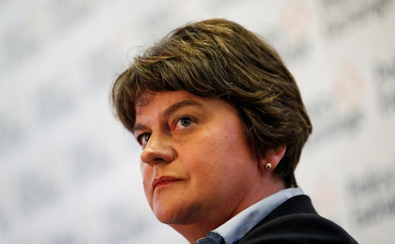 DUP leader Arlene Foster speaks during a meeting about abolishing the Irish backstop during the Conservative Party annual conference in Manchester, Britain, September 29, 2019. REUTERS/Phil Noble