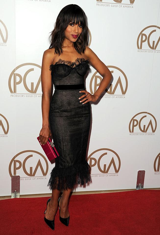 BEVERLY HILLS, CA - JANUARY 26:  Actress Kerry Washington arrives at the 24th Annual Producers Guild Awards held at The Beverly Hilton Hotel on January 26, 2013 in Beverly Hills, California.  (Photo by Steve Granitz/WireImage)