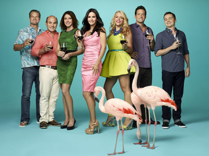 "The cast of ""Cougar Town"" on TBS."