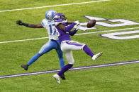 Minnesota Vikings cornerback Kris Boyd, right, breaks up a pass intended for Detroit Lions wide receiver Marvin Hall, left, during the first half of an NFL football game, Sunday, Nov. 8, 2020, in Minneapolis. (AP Photo/Charlie Neibergall)