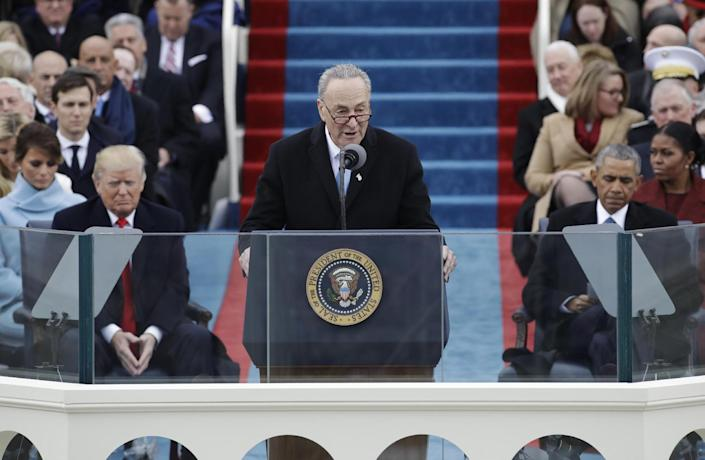 <p>Senator Chuck Schumer, D-NY speaks during the 58th Presidential Inauguration at the U.S. Capitol in Washington, Friday, Jan. 20, 2017. President-elect Donald Trump, right listens with President Barack Obama, right. (Photo: Patrick Semansky/AP) </p>