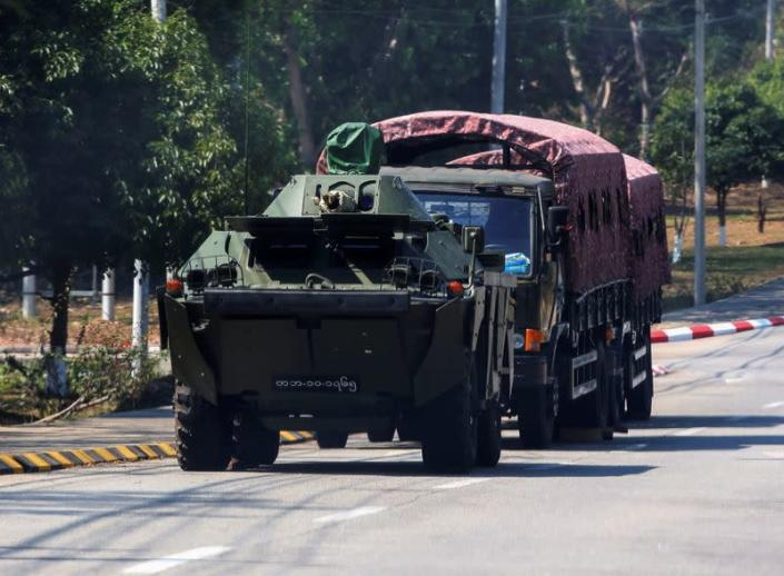 Myanmar Army armoured vehicles are seen after the military seized power in a coup in Naypyitaw