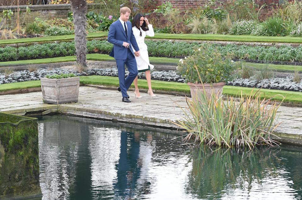 Harry and Meghan announced their engagement in the Sunken Garden. (Getty Images)