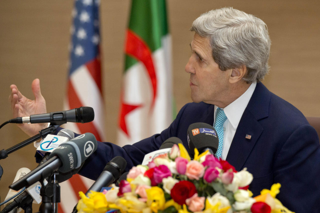 U.S. Secretary of State John Kerry makes opening remarks at the start of a U.S.-Algeria Strategic Dialogue in Algiers, Algeria Thursday April 3, 2014. (AP Photo/Jacquelyn Martin, Pool)
