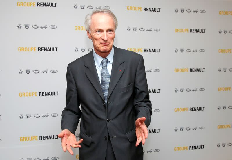 FILE PHOTO: Chairman of Renault SA Jean-Dominique Senard attends a news conference at French carmaker Renault headquarters in Boulogne-Billancourt