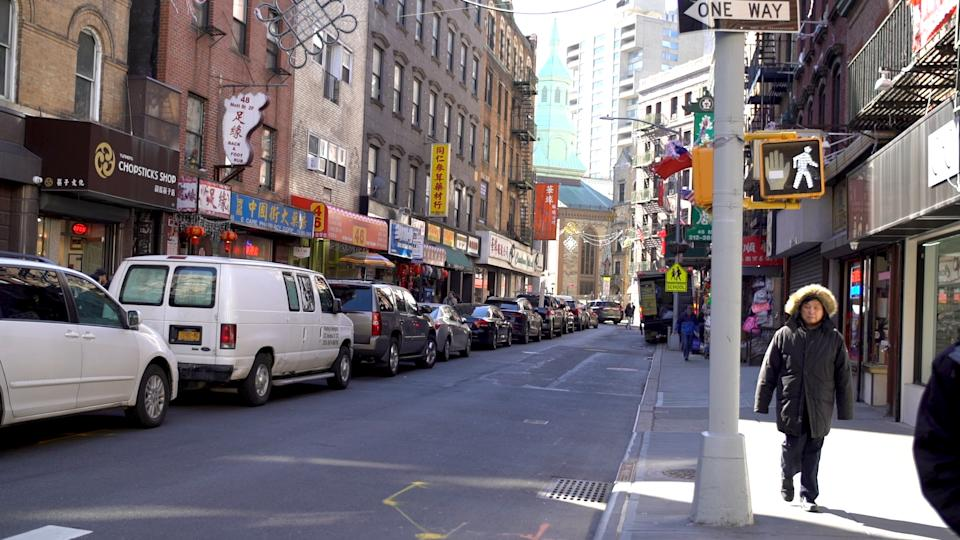Chinatown's Mott Street is empty in the middle of the day due to coronavirus fears.