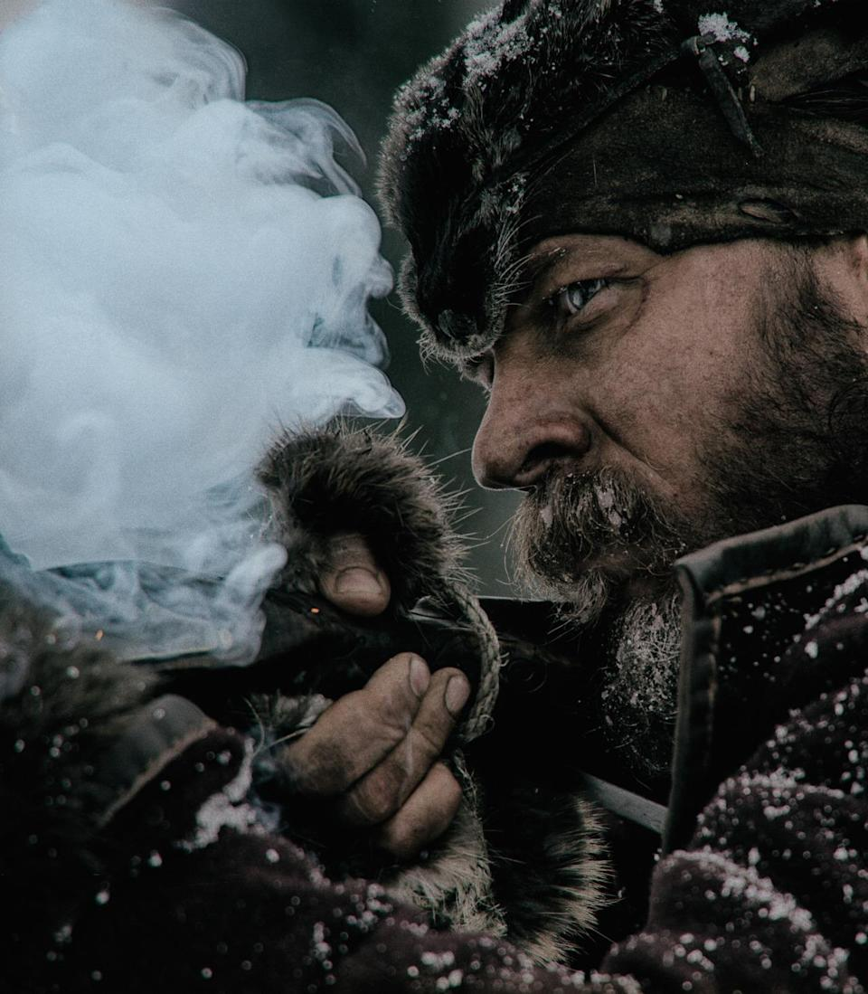 <p>Filmed in excruciating subzero temperatures, Tom Hardy (as John Fitzgerald, pictured) and Leonardo DiCaprio — along with the rest of the cast and crew — endured extreme conditions during the prolonged shoot. 'The Revenant' was filmed mostly in the outdoors of Canada and finished in the snowy slopes of Argentina. <br></p>