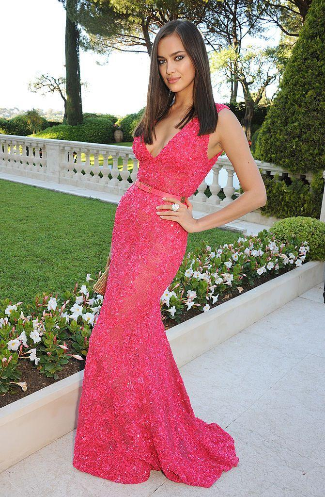 <p>The Russian model wore a red embellished gown in Cannes.</p>