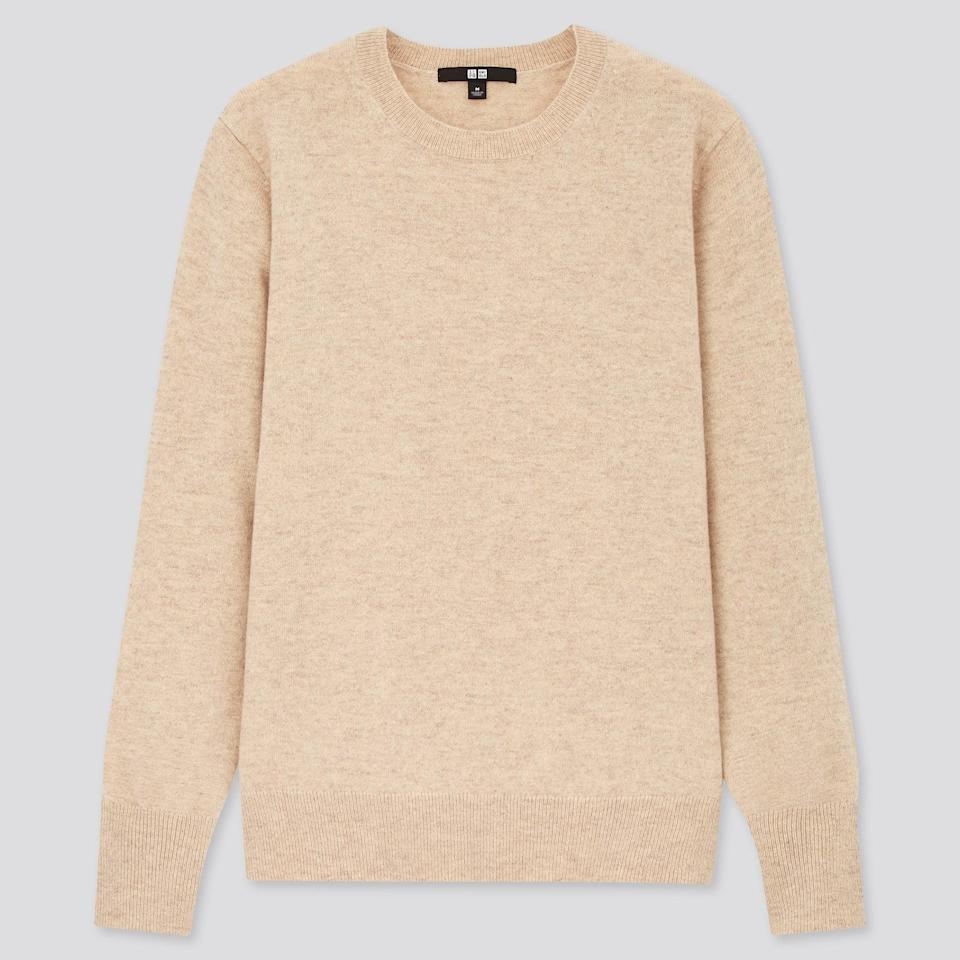 "<br><br><strong>Uniqlo</strong> 100% Cashmere Crew Neck Jumper, $, available at <a href=""https://www.uniqlo.com/uk/en/product/women-100pct-cashmere-crew-neck-jumper-428863COL53SMA003000.html"" rel=""nofollow noopener"" target=""_blank"" data-ylk=""slk:Uniqlo"" class=""link rapid-noclick-resp"">Uniqlo</a>"
