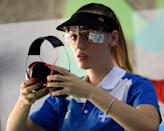 <p>Anna Korakaki of Greece competes in the 25m Pistol competition on Day 4 of the Rio 2016 Olympic Games at the Olympic Shooting Centre on August 9, 2016 in Rio de Janeiro, Brazil. (Photo by Sam Greenwood/Getty Images) </p>