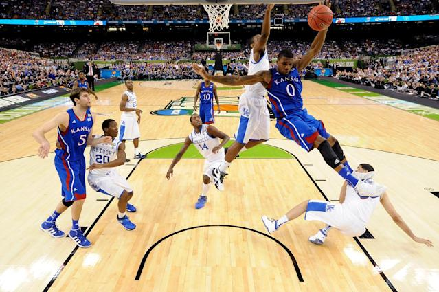 Thomas Robinson #0 of the Kansas Jayhawks lays the ball up against the Kentucky Wildcats in the National Championship Game of the 2012 NCAA Division I Men's Basketball Tournament at the Mercedes-Benz Superdome on April 2, 2012 in New Orleans, Louisiana. (Photo by Pool/Getty Images)