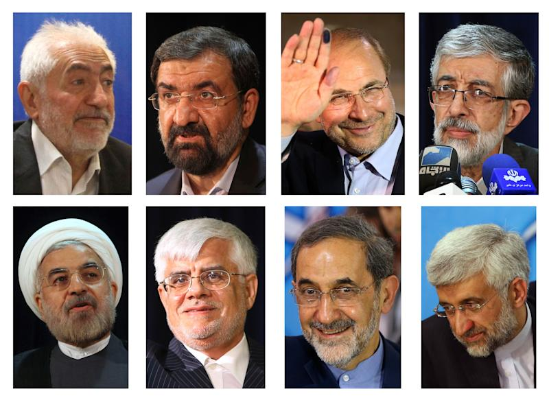 FILE - This combination of May 2013 file photos shows the eight candidates approved for Iran's June 14, 2013 presidential election to replace Mahmoud Ahmadinejad. Top row from left are Mohammad Gharazi, Mohsen Rezaei, Mohammad Bagher Qalibaf and Gholam Ali Haddad Adel. Bottom row from left are Hasan Rowhani, Mohammad Reza Aref, Ali Akbar Velayati, Saeed Jalili. (AP Photo/File)