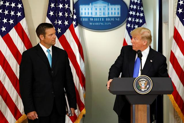 U.S. President Donald Trump speaks at the first meeting of the Presidential Advisory Commission on Election Integrity, co-chaired by Kansas Secretary of State Kris Kobach, left, at the White House on July 19. The commission doesn't have a clear goal, says Maine Secretary of State Matt Dunlap.