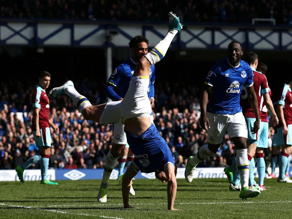 Jagielka celebrates his goal with a cartwheel (Getty)