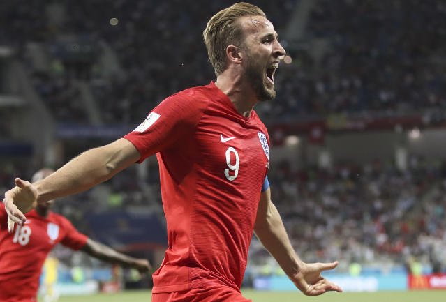 He's done it: England's Harry Kane celebrates after scoring the winner