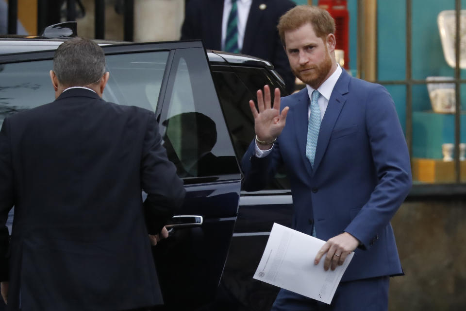 Britain's Prince Harry, Duke of Sussex leaves after attending the annual Commonwealth Service at Westminster Abbey in London on March 09, 2020. - Britain's Queen Elizabeth II has been the Head of the Commonwealth throughout her reign. Organised by the Royal Commonwealth Society, the Service is the largest annual inter-faith gathering in the United Kingdom. (Photo by Tolga AKMEN / AFP) (Photo by TOLGA AKMEN/AFP via Getty Images)