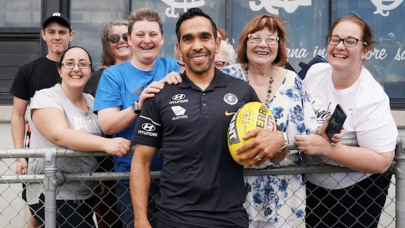 Eddie Betts has been embraced by Blues fans after announcing his return to Carlton.