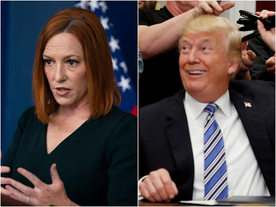 White House Press Secretary Jen Psaki said the White House would not change their messaging strategy if Donald Trump returned to social media.  (AP/Reuters)