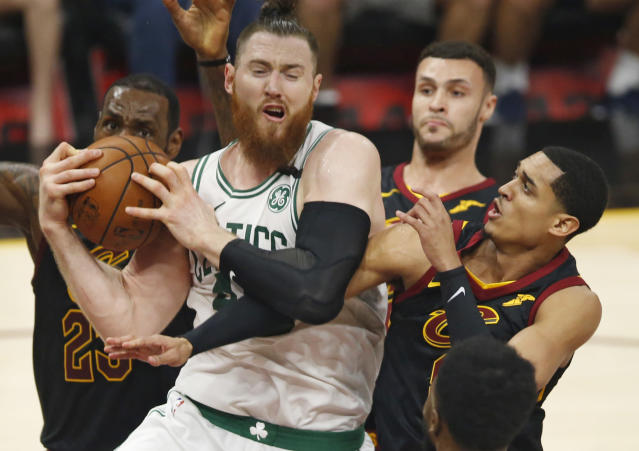 "<a class=""link rapid-noclick-resp"" href=""/nba/players/5150/"" data-ylk=""slk:Aron Baynes"">Aron Baynes</a> is a valuable defender for the <a class=""link rapid-noclick-resp"" href=""/nba/teams/bos"" data-ylk=""slk:Celtics"">Celtics</a>. (AP)"