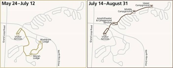Important: May 24–July 12, the shuttle will run the hotel to visitor services route. July 13 is a changeover day, meaning no service. July 14–August 31, the shuttle will run between the campground and visitor services.