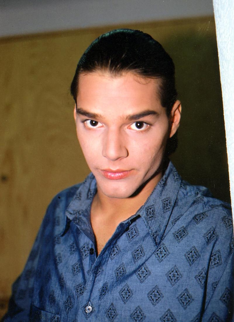 Ricky Martin with his ponytail look in México in 1992.