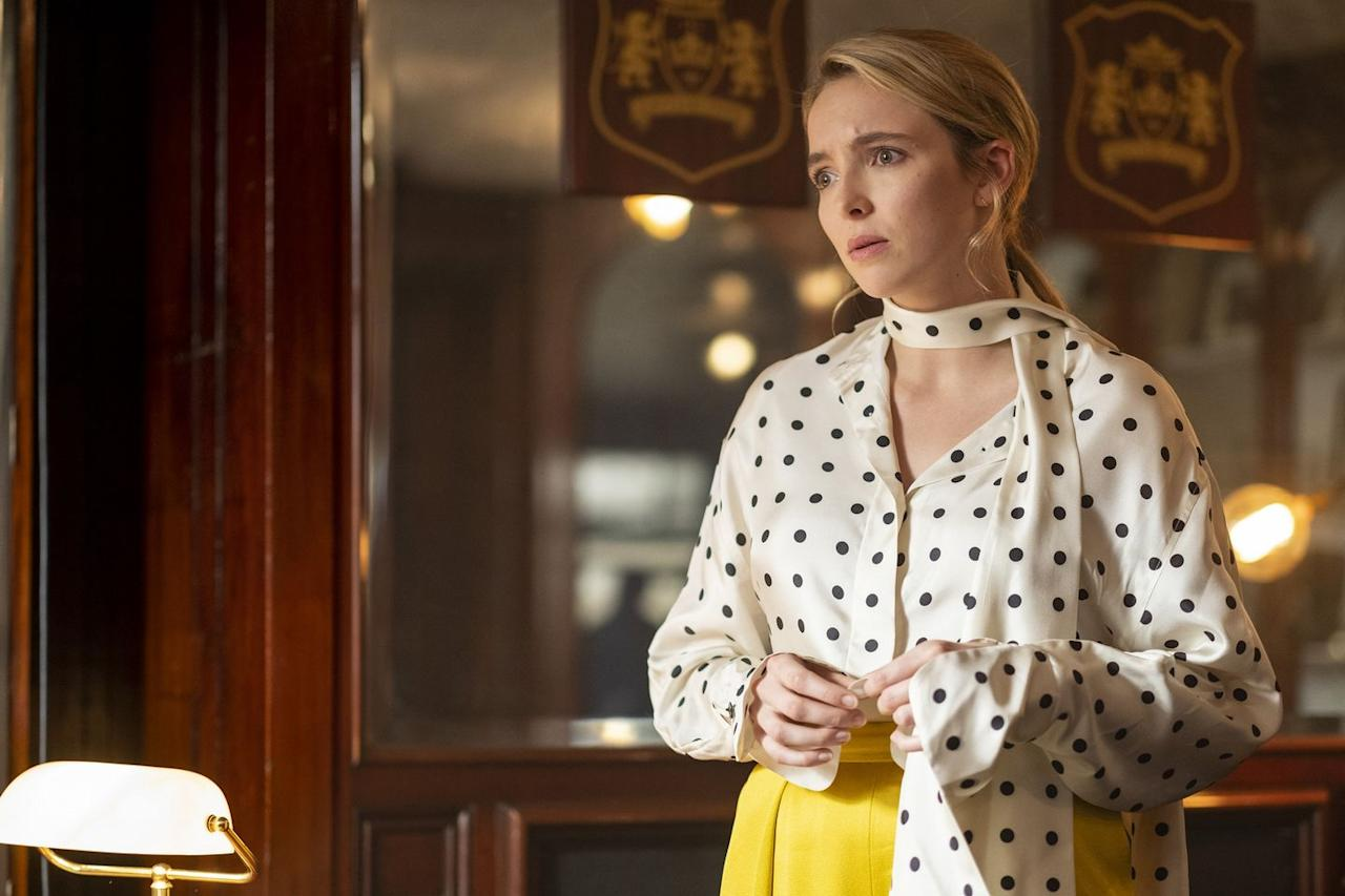 """<p>In the third season, Villanelle wears a polka dot blouse by Petar Petrov which she paired with yellow pleat trousers by Maison Rabih Kayrouz, which are still available to buy (and on sale...)</p><p><a class=""""body-btn-link"""" href=""""https://go.redirectingat.com?id=127X1599956&url=https%3A%2F%2Fwww.matchesfashion.com%2Fproducts%2FMaison-Rabih-Kayrouz-Textured-pleat-satin-trousers--1295069&sref=https%3A%2F%2Fwww.elle.com%2Fuk%2Ffashion%2Fcelebrity-style%2Fg32156498%2Fvillanelle-best-outfits-killing-eve%2F"""" target=""""_blank"""">SHOP NOW</a> Maison Rabih Kayrouz Textured pleat satin trouser<br></p><p><a class=""""body-btn-link"""" href=""""https://go.redirectingat.com?id=127X1599956&url=https%3A%2F%2Fwww.mytheresa.com%2Fen-gb%2Fpetar-petrov-connor-silk-blouse-1419912.html%3Fcatref%3Dcategory&sref=https%3A%2F%2Fwww.elle.com%2Fuk%2Ffashion%2Fcelebrity-style%2Fg32156498%2Fvillanelle-best-outfits-killing-eve%2F"""" target=""""_blank"""">SHOP SIMILAR</a>Petar Petrov Connor Silk Blouse<br></p>"""