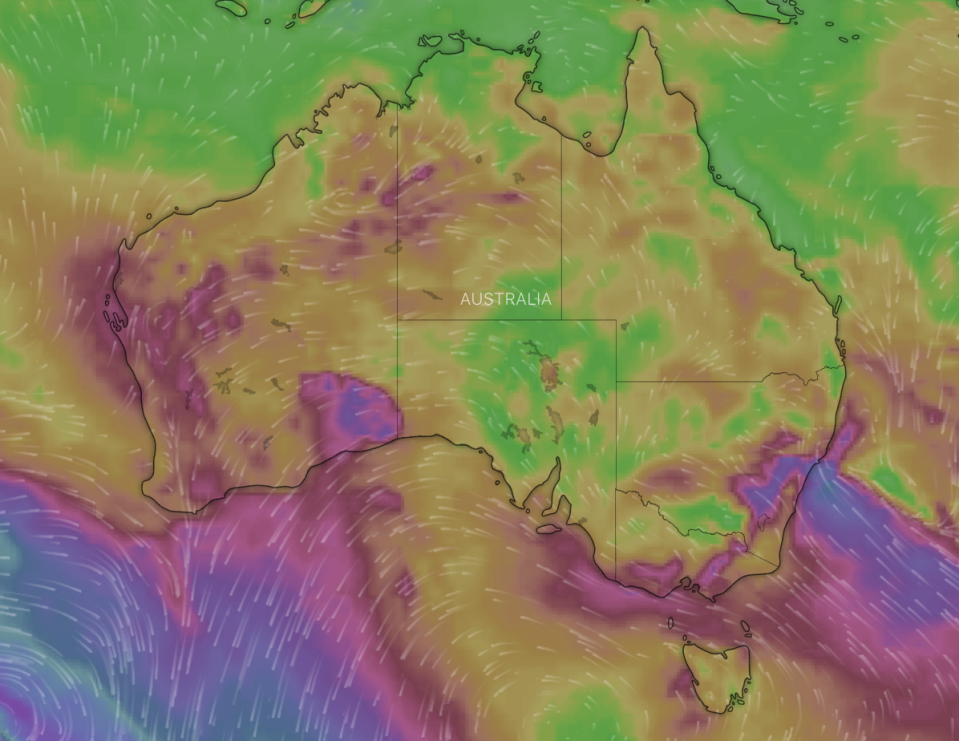 A map of the severe weather and wind on Monday. Source: Windy.com
