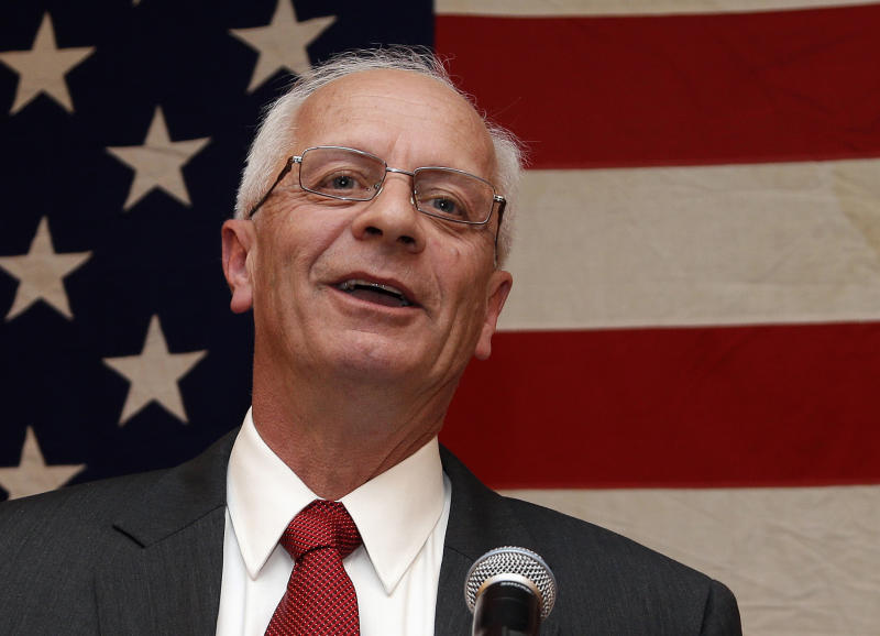 FILE - In this Nov. 7, 2012 file photo, then-Michigan Republican House candidate Kerry Bentivolio speaks at his election night party in Novi, Mich. Business thinks tea partyers have overstayed their welcome in Washington and wants to show them the door in next year's congressional elections. In Michigan, longtime businessmen Brian Ellis and David Trott are challenging hard-line Reps. Justin Amash and Kerry Bentivolio in Republican primaries as three years of frustration over GOP insurgents roughing up the business community's agenda came to a head with the 16-day partial government shutdown and the near financial default. (AP Photo/Paul Sancya, File)