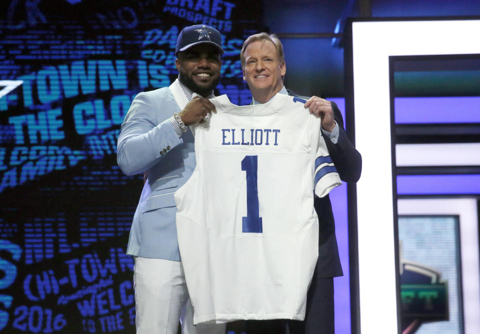 NFL commissioner Roger Goodell, pictured with Ezekiel Elliott at the NFL draft in 2016, got another big win for his office's disciplinary powers. (AP)