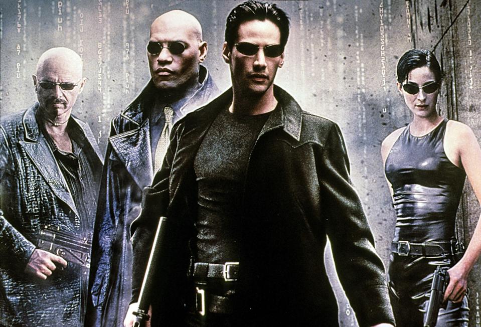 "<p>Written and directed by the Wachowskis, this science fiction thriller about a dystopian future in which humans are unknowingly stuck inside a simulated reality was an instant hit at the box office and won four Academy Awards. More than that, it became a cultural touchstone. Action films and video games still visually reference <em>The Matrix</em>'s unique style of slow-motion and other special effects. And if you've ever heard someone ask if you want to take the red pill or blue pill, you can thank <em>The Matrix</em>. </p> <p><em>Available to rent on</em> <a href=""https://www.amazon.com/Matrix-Keanu-Reeves/dp/B000GJPL1S"" rel=""nofollow noopener"" target=""_blank"" data-ylk=""slk:Amazon Prime Video"" class=""link rapid-noclick-resp""><em>Amazon Prime Video</em></a></p>"