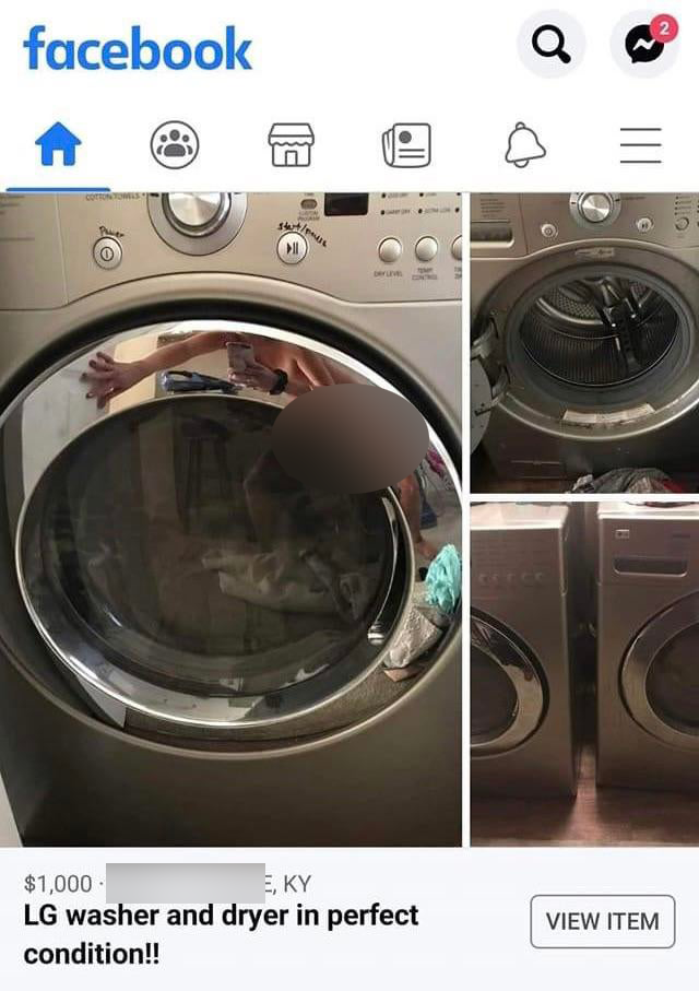 Advertisement Facebook marketplace for washer dryer, naked woman reflected in first photo in X-rated fail