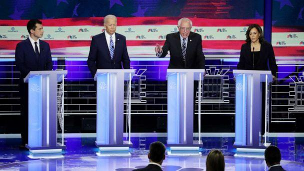 PHOTO: Pete Buttigieg, Joe Biden, Bernie Sanders and Kamala Harris participate in the second night of the first 2020 democratic presidential debate at the Adrienne Arsht Center for the Performing Arts in Miami, June 27, 2019. (Drew Angerer/Getty Images)
